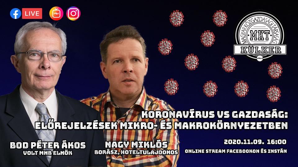 MKT Külker Koronavírus vs. gazdaság esemény borítóképe. A képen Bot Péter Ákos volt MNB elnök és Nagy Miklós szálloda tulajdonos portréja látható kék színű háttér előtt.