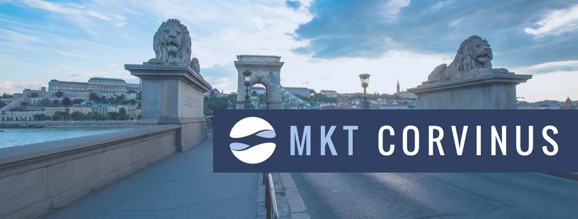 A képen a Lánchíd pesti hídfője szerepel előtérben az MKT Corvinus logójával.